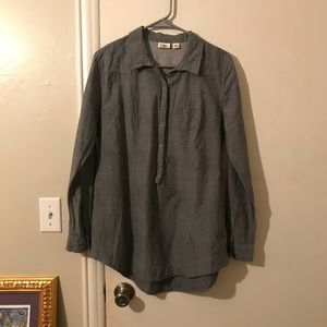 Half-button Chambray Shirt
